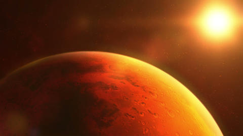 The planet Mars is brightly lit by the sun Animation
