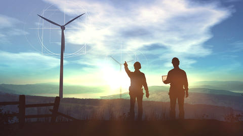 Engineers design the construction of wind farms Animation