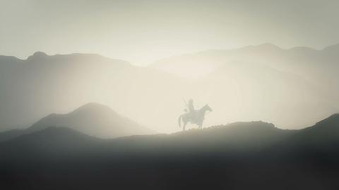 Japanese Bushido Samurai Warrior Sitting on his Horse on a Mountain Live Action