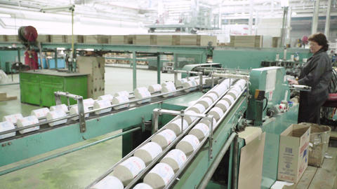 Work on the conveyor in a paper mill. Technology. Factory. Kyiv. Ukraine Live Action