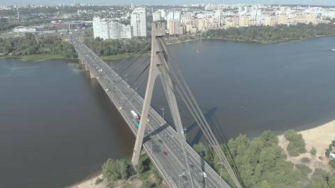 North bridge over the Dnipro river. Kyiv, Ukraine. Aerial view Live Action