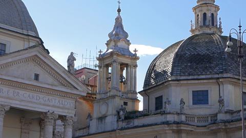 Basilica di Santa Maria del Popolo. Piazza del Popolo, Rome, Italy Footage