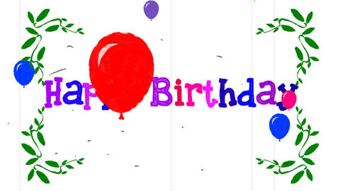Cartoon Happy Birthday with Balloons Greeting Card Sketch Footage