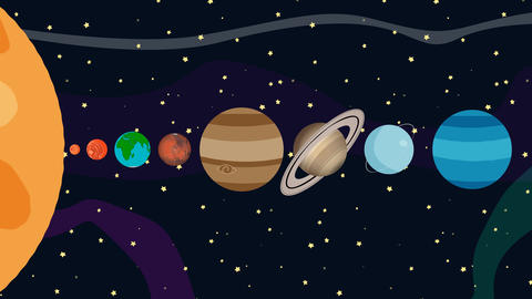 Cartoon Animation of the Planets of the Solar System By Order in 4K Resolution Footage