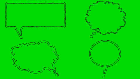 Real Animated Cartoon Speech Bubbles on a Green Screen Background Footage