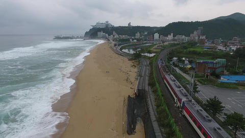 Ocean with train Footage