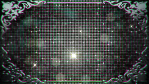 Glamorous Sparkling Sequins in a Silver Border Frame with Flare Lights and Parti Footage