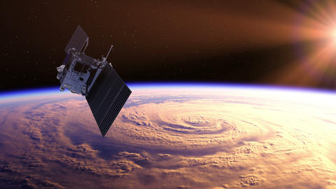 Space Satellite Exploring A Hurricane On The Earth Animation