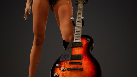 Rock and roll woman with an electric guitar and wearing a bikini GIF