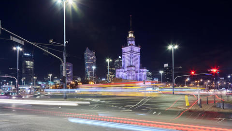 Night timelapse of a busy cross road in Warsaw, Poland Live Action