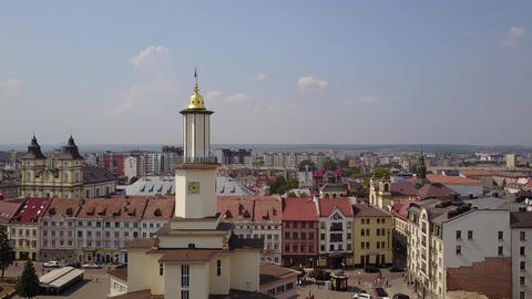 Ivano-Frankivsk, Ukraine , Aerial, Old historical buildings Live Action