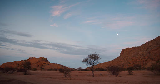 Timelapse of the dawn, morning sky of Erongo, Namibia, desert, colorful sky, 4k Live Action
