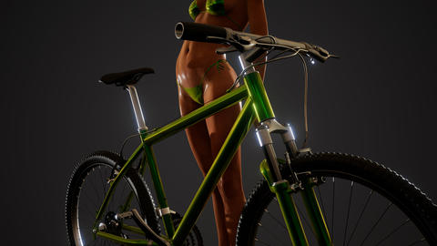 Sexy woman in swimsuit with bike GIF