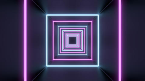 Square Tunnel Loop of abstract neon lights passing in front of the screen ライブ動画