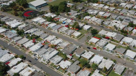 Aerial establishing shot of a residential area in Puerto Rico Live Action