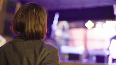 Girl fan at a concert near the stage. Kyiv. Ukraine Live Action