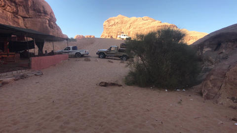 Wadi Rum, Jordan - October 17, 2019: tourists explore the mysteries of the red Live Action