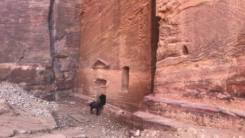 Petra, Jordan - mountain reliefs with structures carved into the rocks part 7 Live Action
