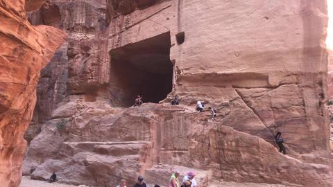 Petra, Jordan - October 17, 2019: tour groups study canyon part 3 Live Action