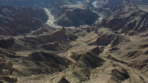 Drying river in the huge canyon, aerial footage of Fish River Canyon, Namibia Live Action