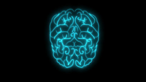2D animation, flashing blue neon lights forming structure of human brain Live Action
