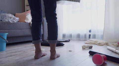 Woman horrified by mess left after party in her apartment, cleaning service Live Action
