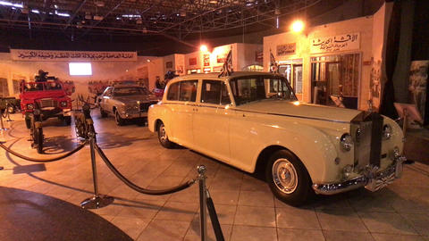 Amman, Jordan - October 20, 2019: Royal Automobile museum retro cars with Live Action