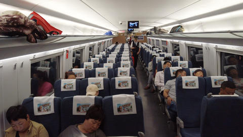 Guangyuan SICHUAN CHINA, - JUNE 05 2019: -View of Interior of high-speed rail Live Action
