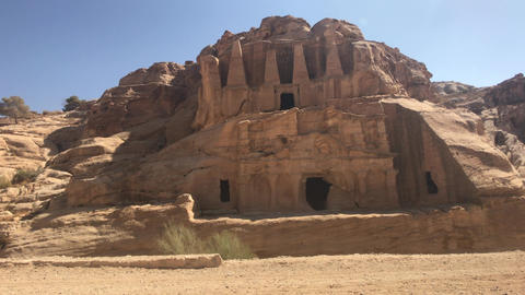 Petra, Jordan - mountain reliefs with structures carved into the rocks Live Action