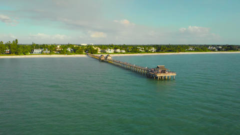 Naples Beach Pier 4k aerial drone footage Live Action