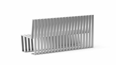 Steel bench with modern design Animation