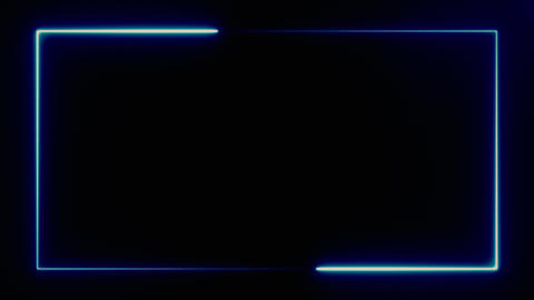 blue color neon rectangle frame on black background for business commercial Live Action