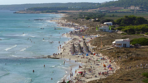 """Aerial view of the """"Son Bou"""" Beach, Balearic Islands.Time Lapse Live Action"""
