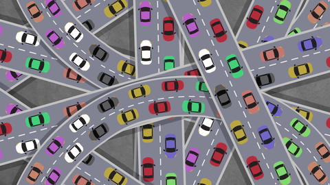 Top View on Heavy Traffic Cars Driving in Intersection in Rush Hour - Looping Footage