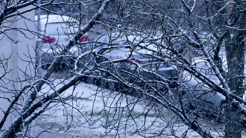 4K Snowfall in City Footage