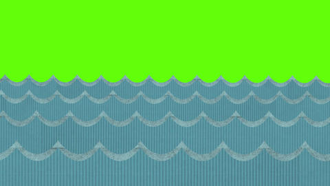 Theatrical Windy Cardboard Sea Waves on a Green Screen Background Footage