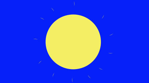 Classic Cartoon Sun on a Blue Screen Background Live Action