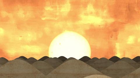 Animated Cartoon Desert Dunes on Sunset or Sunrise Footage
