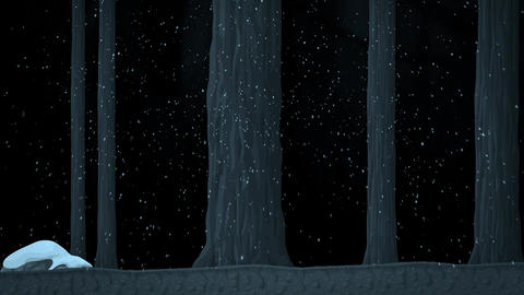 A Walk in a Frozen Snowy Forest with Trees Animated Cartoon Footage