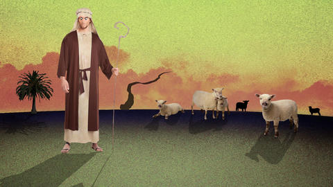 A Cartoon of a Young Biblical Shepherd Herding Sheep in a Desert Footage