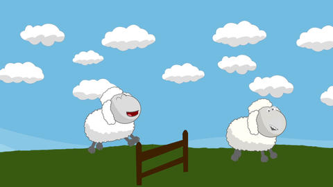Counting Sheep that Jumping Above a Wooden Fence Footage