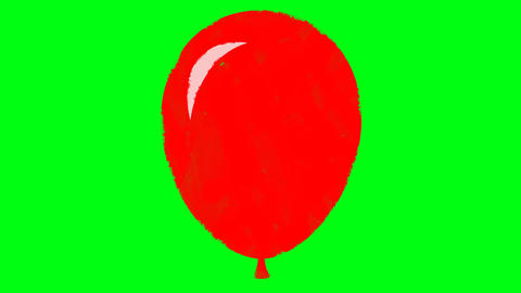 Cartoon Drawn Red Balloon on a Green Screen Background Footage