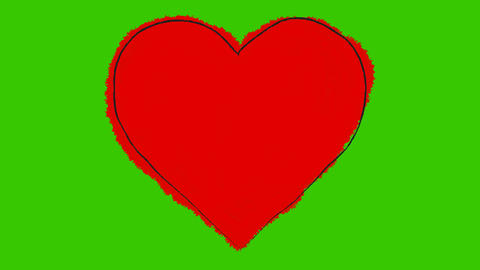 Animated Cartoon of a Beating Big Red Heart on a Green Screen Live Action
