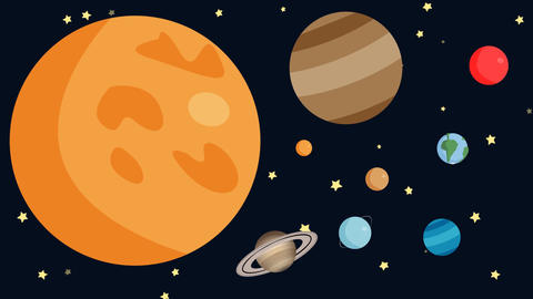 Planets of the Solar System with Shooting Stars in a Cartoon Style Footage