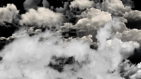 Flying and Hovering Above the clouds on a Black Screen Background Footage