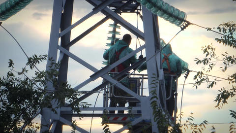 Repair work on a high-power lines 9 Footage