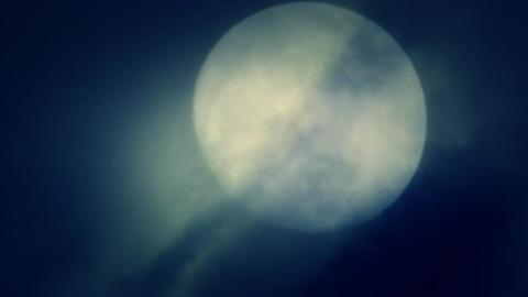 Full Moon Rising on a Dark Night with Spooky Fog Footage