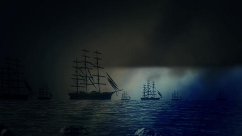 Massive Fleet of Sailing Ships Sailing to Shore Under a Lightning Storm Footage