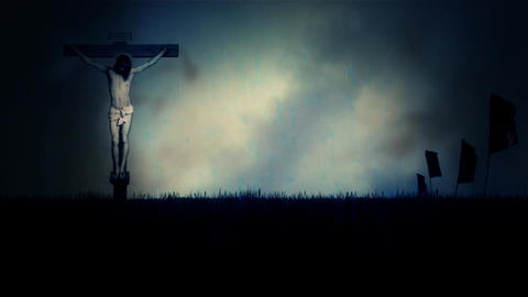 Jesus Christ Crucified Under a Stormy Dark Sky on Mount Calvary in Jerusalem Footage