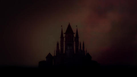 Scary Castle on a Wasteland Under a Thunderstorm Filmmaterial